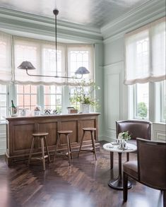 Salon de The by Alison Davin of Jute San Francisco Decorator Showcase silver leaf wallpaper ceiling herringbone parquet wood floor Refinish Wood Furniture, Building Furniture, Furniture Ideas, Farmhouse Side Table, Loft, Cute Dorm Rooms, Dining Room Inspiration, Inspiration Boards, Buying A New Home