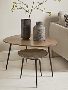 NEW Two Textured Nesting Tables - Occasional Tables & Side Tables - Luxury Modern Tables - Modern Home Furniture Side Tables Uk, Small Round Side Table, Glass Top Side Table, Modern Side Table, Large Table, Modern Home Furniture, Living Furniture, Table Furniture, Furniture Online
