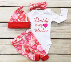 Daddy Is My Valentineborn Baby Girls Romper Bodysuit Jumpsuit Clothes Outfit