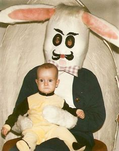 The kid looks just like the bunny...just without the bunny face on.