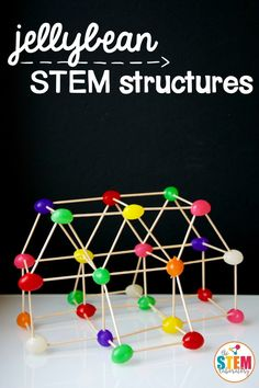 What a fun STEM project for kids! Build jellybean and toothpick structures. Great engineering challenge with kids during STEM centers or Makerspaces! #stem #kidsengineering #thestemlaboratory