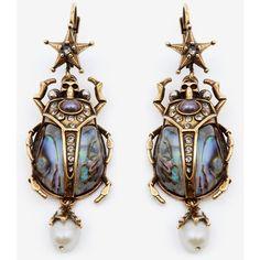 Alexander McQueen Beetle Earrings (5.070 NOK) ❤ liked on Polyvore featuring jewelry, earrings, antique gold, alexander mcqueen jewelry, antique gold jewellery, antique gold jewelry, swarovski crystal jewelry and antique gold earrings