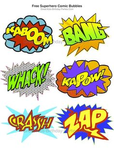 Downloadables for superhero theme party - Free Superhero Bubbles in small and large sizes.