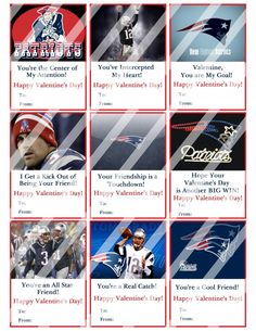 New England Patriots Valentines Day Cards #10 (instant download or printed)