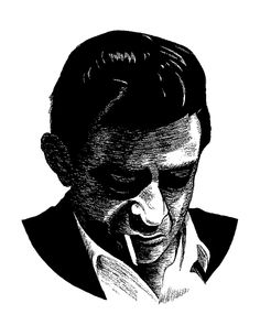 Johnny Cash pencil and ink study.