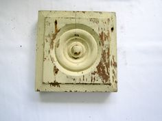 Wood Salvaged Chippy Plinth Block Bullseye Architectural Baseboard Molding Home…