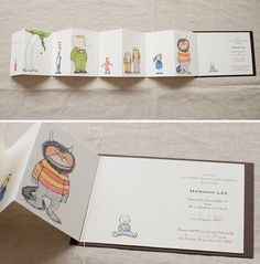 Classic literary character fold out invite