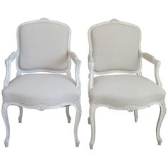 1stdibs | Pair of French Armchairs c 1880 in white paint
