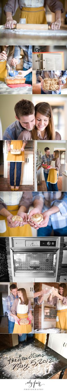 Adorable baking couples/engagement shoot idea. Buns in the oven ideas for pregnancy announcement too!