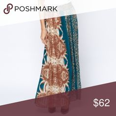 """Rylee"" Fall Blue Gold Pleated Maxi Skirt Can be worn as a high waist skirt or on the hips Gold printed design on elastic waist - 100% Polyester - L: 41"" (Belt To Hem) - Model Wears Size: S/M - Elastic Waist Band - Lined Skirts Maxi"