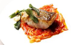 Pan-fried hake with red pepper relish from greatbritishchefs.com