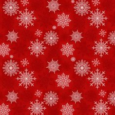 In Stock and Ships Today Sold by the Yard and Cut Continuous Henry Glass Winter Wonderland Red Winter Flowers by Annie Downs