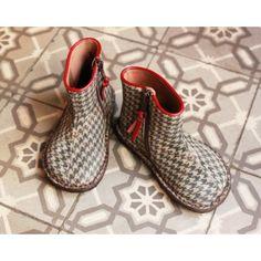 Boots cuir imprimé pied de poule [Pèpè]