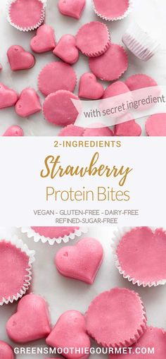 2-Ingredient Strawberry Protein Pre-Workout Bites #vegan #oilfree #easysnack A fruit treat that will pump up your energy with a secret ingredient.  RECIPE: https://greensmoothiegourmet.com/2-ingredient-strawberry-protein-pre-workout-bites/