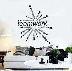 Vinyl Wall Decal Teamwork Words Office Decor Business Stickers Unique Gift in X in / Black Office Wall Design, Office Wall Decor, Office Walls, Office Art, Office Interior Design, Office Interiors, Office Designs, Business Office Decor, Modern Office Decor