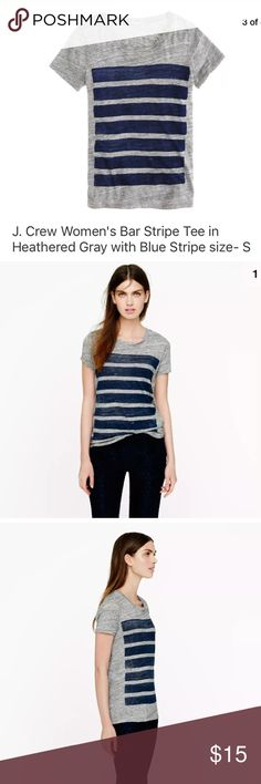 """J. Crew Bar-stripe tee Gray with Blue stripe J. Crew Bar-stripe tee in Heathered Gray with Blue stripe. Excellent pre-owned condition with no issues - NO rips, holes or stains. Laundered, clean and ready to ship..  Size on tag: S 16"""" from armpit to armpit 23.5"""" from collar to hem J. Crew Tops Tees - Short Sleeve"""