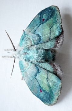 Yumi Okita   |  http://www.thisiscolossal.com/2014/07/textile-moth-and-butterfly-sculptures-by-yumi-okita/