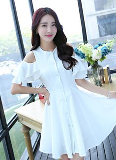 Shoulderless A-line dress with layered sleeves #white