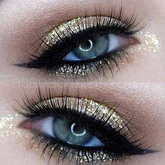 Gold Glitter Eye Makeup: