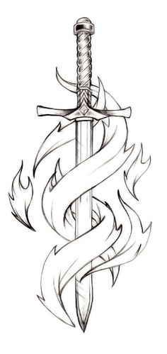 Pretty neat sword tattoo idea, perhaps this sword taken down to an outline, similar to the Lily tattoo. Then I'd wait for my next child (due Aug 7th 2014) and think of a third element to the whole deal. ideas