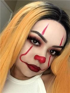 Illusion makeup is almost always a huge hit at Halloween. In reality, it is the easiest way to craft a costume. Then you should have to settle on a type of makeup that may provide you with a type of… Continue Reading → Maquillaje Halloween 2019, Halloween Makeup Clown, Halloween Looks, Cute Clown Makeup, Halloween Costumes, Orange Ombre Hair, Cat Makeup, Special Effects Makeup, Synthetic Lace Front Wigs