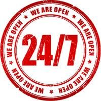 We are open 24/7 for your help!!!