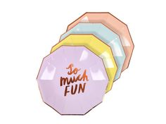 Fun Typographic Plates - disposable paper party plates - fun pastel party tableware