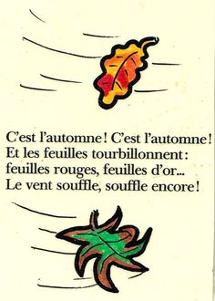 comptine d'AUTOMNE en couleur French Poems, French Practice, French Nursery, Fall Coloring Pages, French Education, Core French, French Classroom, French Resources, Kindergarten Lesson Plans