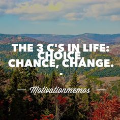 You have a choice with every choice comes a chance. Taking chances results to change by motivationmemos