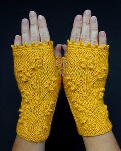 Guantes sin dedos tejido de mano, amarillo, ropa y accesorios, guantes y mitones, hechos por encargo en el Color