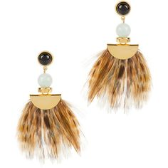 Lizzie Fortunato Drop Feather Earrings ($210) ❤ liked on Polyvore featuring jewelry, earrings, multi, 18k gold plated earrings, beading earrings, stud earrings, beaded earrings and brown stud earrings