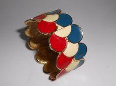 1970's Geneva Hidden Watch Ladies Enamel Bangle Bracelet 17 Jewels #Geneva