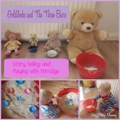 Sensory porridge oats play linked to Goldilocks and The Three Bears.