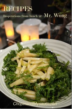 Salad of chrysanthemum leaves, nashi pear, blue swimmer crab and ginger
