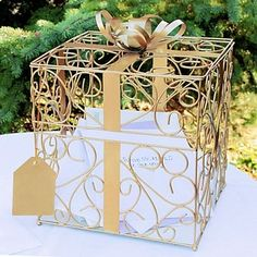 Gold scroll reception card holder with metall ribbon, bow and gift tag accents