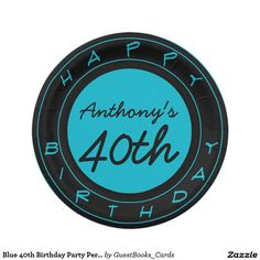 Blue 40th Birthday Party Personalized Paper Plates