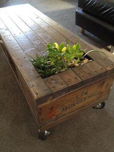 Wooden Pallet Coffee Table with Planter #palletfurniturebeds #Woodenpalletfurniture