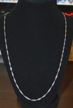 """Sterling Silver - 1.58 mm Twisted Flat Chain 4.9g - Necklace (24"""") D101"""