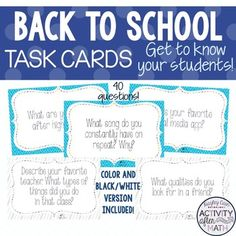 Back To School Task Cards! Get to know your... by Hayley Cain - Activity After Math | Teachers Pay Teachers