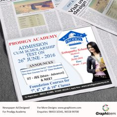 Newspaper Ad Designed For Prodigy Academy