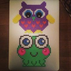 Owl and frog decorations hama beads by madaellingen