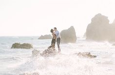 Beach Wedding Photos stunning engagement at the beach shot by Katie Shuler - A Malibu engagement session with fun style. Outdoor Engagement Photos, Engagement Shots, Engagement Couple, Engagement Pictures, Engagement Photography, Wedding Pictures, Wedding Photography, Country Engagement, Fall Engagement