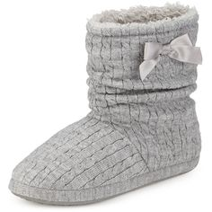 Snuggle Side Bow Slipper Boots M&S ($29) ❤ liked on Polyvore featuring shoes, boots, bow shoes and m&s shoes
