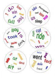 English worksheet: Dobble - irregular verbs - a game
