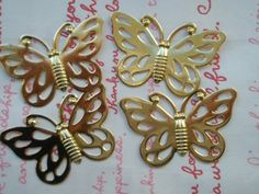 BIG Brass Gold plated  Butterfly Filigree 6pcs A by MimiLoLo, $3.90