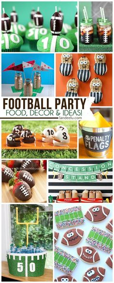 DIY Football Party Ideas and Recipes  for treats, drinks, appetizers and more!    Perfect for Team Parties, Birthdays and SUPER BOWL