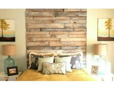 Feature Wall - cut off wood planks