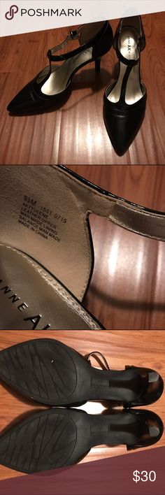 """EUC Anne Klein T-Strap heels Barely worn leather Anne Klein iflex heels with patent accents and classic t-strap styling. I've only worn these a few times around an office setting, as can be seen by the picture of the soles/heel. Approximately 3"""" heel and very easy to wear! Anne Klein Shoes Heels"""