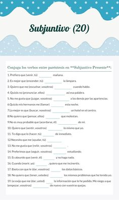 "Use this Wizer.Me​ blended worksheet ""Subjuntivo with your students or create your own. Subjunctive Spanish, Spanish Grammar, Spanish Vocabulary, Spanish English, Spanish Language Learning, Spanish Lessons Online, Spanish Lessons For Kids, Spanish Lesson Plans, French Lessons"