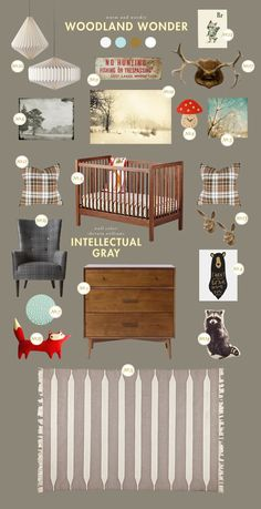 Lay Baby Lay: woodland wonder    I love this so much for a little boy's room--My Husband would approve, too! Nursery Inspiration, Nursery Ideas, Nursery Themes, Room Ideas, Nursery Decor, Inspiration Boards, Room Decor, Baby Boy Rooms, Little Boys Rooms